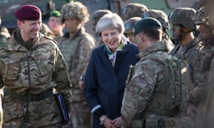 Theresa May with Nato troops in Estonia last week.
