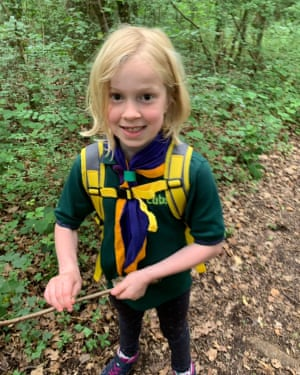 New cub scout recruit Florence Cooper-Seel of the 14th Hove group prepares for her first camping trip.
