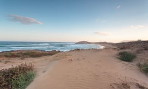Calblanque beach in the evening, in Murcia, Spain