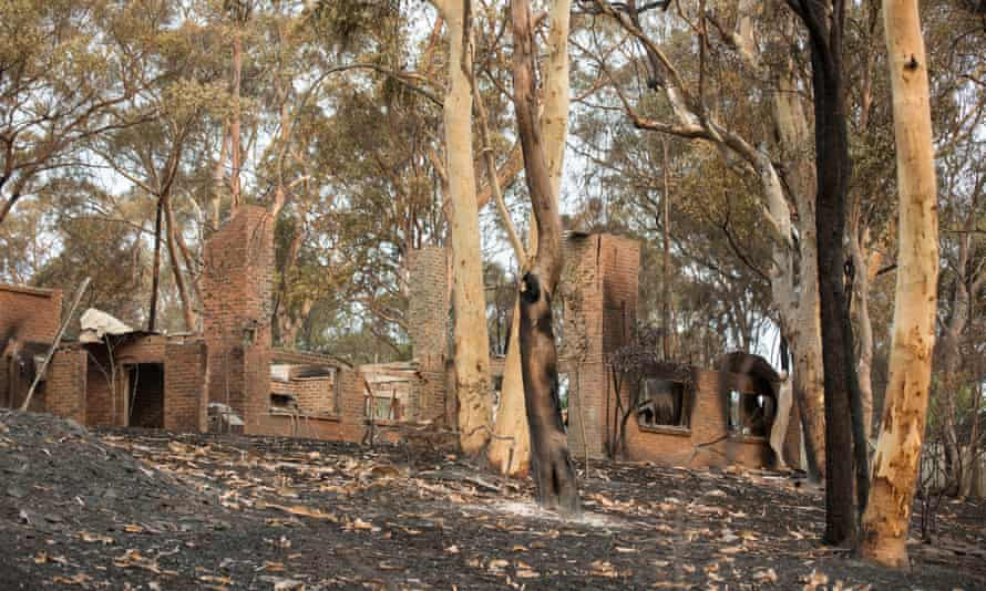A house destroyed in the New South Wales bushfires