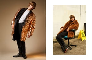 Left: Padded lining, price on request, double-breasted coat, £1,800, T-shirt, £135, trousers, £360, and shoes, £650, by Calvin Klein Collection Calvin Klein Right: Shearling coat, £2,050, by Coach. Jumper, £525, and trousers, £295, by Burberry. Trainers, £350, by Vivienne Westwood
