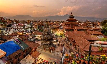 Patan Durbar Square in Nepal at sunset.