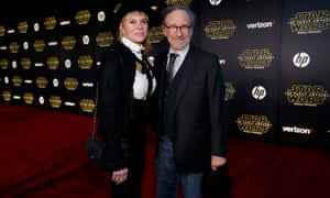 Director Steven Spielberg, with his wife, actor Kate Capshaw, dresses down his dinner jacket with jeans.