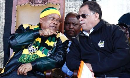South African president Jacob Zuma with Danny Jordaan, the ANC mayor of Port Elizabeth.