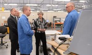 Theresa May visits Kelvin Hughes Limited in Enfield, north London, April 2017
