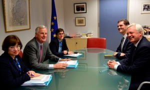 David Davis (right) andEU chief negotiator in charge of Brexit negotiations with Britain Michel Barnier (second left) during a meeting at the European Union Commission headquarter in Brussels, in July 2017.