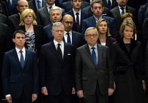 The French prime minister, Manuel Valls; King Philippe of Belgium. the European Union commission president Jean-Claude Juncker and Queen Mathilde of Belgium hold a minute of silence with all EU commissioners at the EU headquarters in Brussels