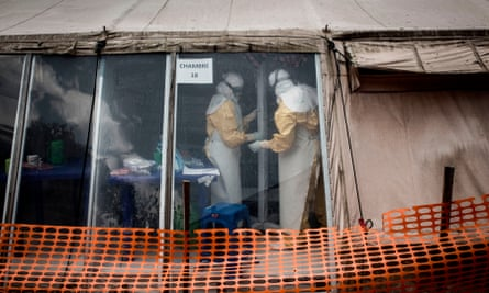 Health workers inside the 'red zone' of an Ebola treatment centre in Butembo