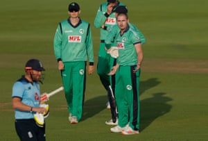 Ireland's Josh Little has words with Jonny Bairstow after dismissing him.
