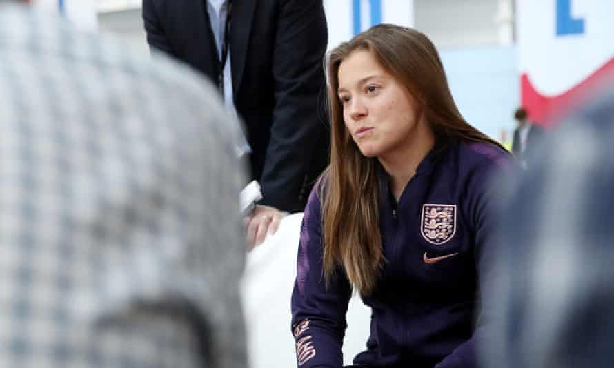 England's Fran Kirby talks to members of the media at St George's Park.