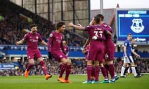 Leroy Sané and Manchester City celebrate after his early goal.