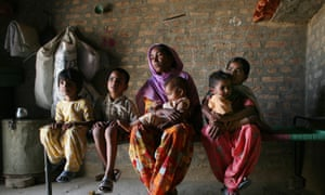 Saroj and her children in the north Indian village of Bhatuan
