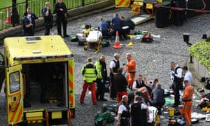 Emergency services at the scene outside the Palace of Westminster.