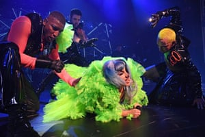New York, US Lady Gaga performs on stage at the Apollo in New York City