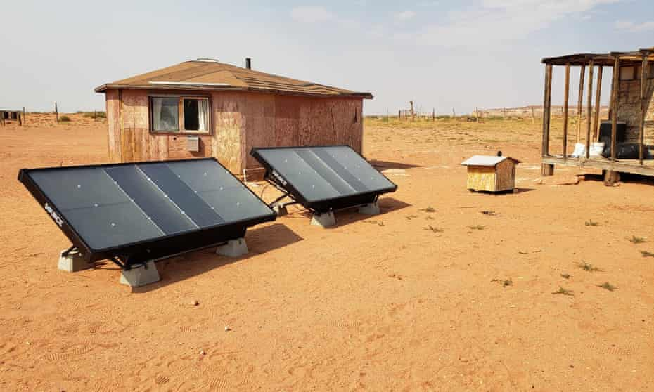 Two Source hydropanels in front of a home in the LeChee Chapter of the Navajo Nation, near Page, Arizona.