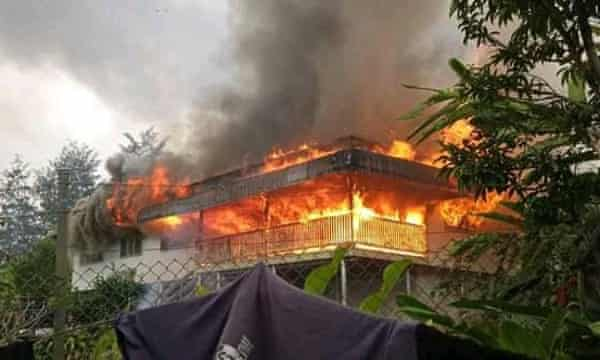 Homes were destroyed after fighting broke out near Kainantu in Eastern Highlands province in Papua New Guinea.