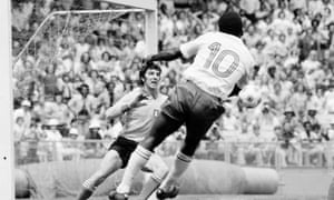 Dino Zoff saves from Pele in the opening game between Team America and Italy.