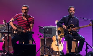 Flight of the Conchords performing in London in 2018.