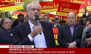 Jeremy Corbyn speaking in Croydon.