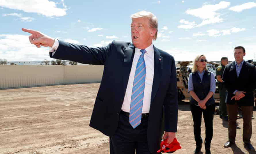 Trump at the border in April. Gilliam stopped work on two Pentagon-funded projects: a section of border barrier of 46 miles in New Mexico and another covering five miles in Arizona.