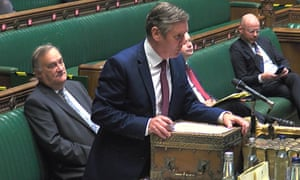 Keir Starmer at prime minister's questions, asking Boris Johnson about why he hasn't imposed a circuit breaker lockdown