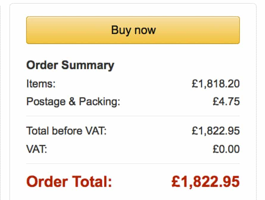 Sample order of 24 items shows no VAT being charged. The items are held in stock at Amazon's UK warehouses by Chinese, Hong Kong and US sellers