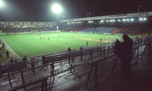 A sparsely populated Selhurst Park hosts Wimbledon v Everton in 1993.