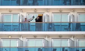The Diamond Princess Cruise Ship, quarantined in Yokohama, south of Tokyo, after passengers were diagnosed with the coronavirus.