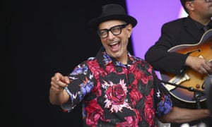 Jeff Goldblum performs with the Mildred Snitzer Orchestra at Glastonbury.