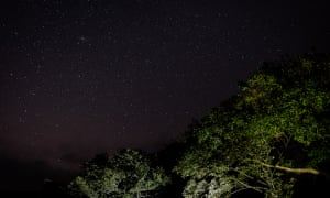 The light from the Milky Way above Llyn Cwm Bychan.