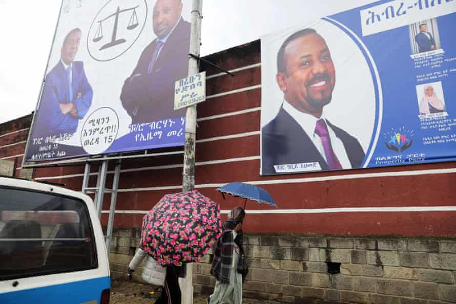 Billboards of the Ethiopian PM, Abiy Ahmed, and Berhanu Nega, the head of the Ethiopian Citizens for Social Justice party, in Addis Ababa.