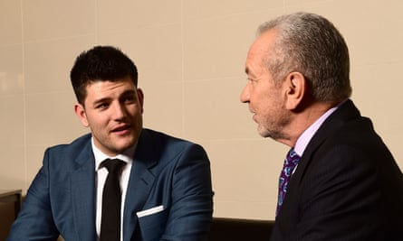 Mark Wright, winner of The Apprentice 2014, with Alan Sugar