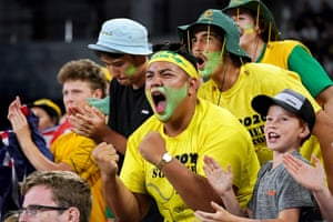 Australian fans cheer during the first round match between Nick Kyrgios of Australia and Lorenzo Sonego of Italy.