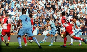 Sergio Agüero scores Manchester City's title-winning goal against Queens Park Rangers in 2012.