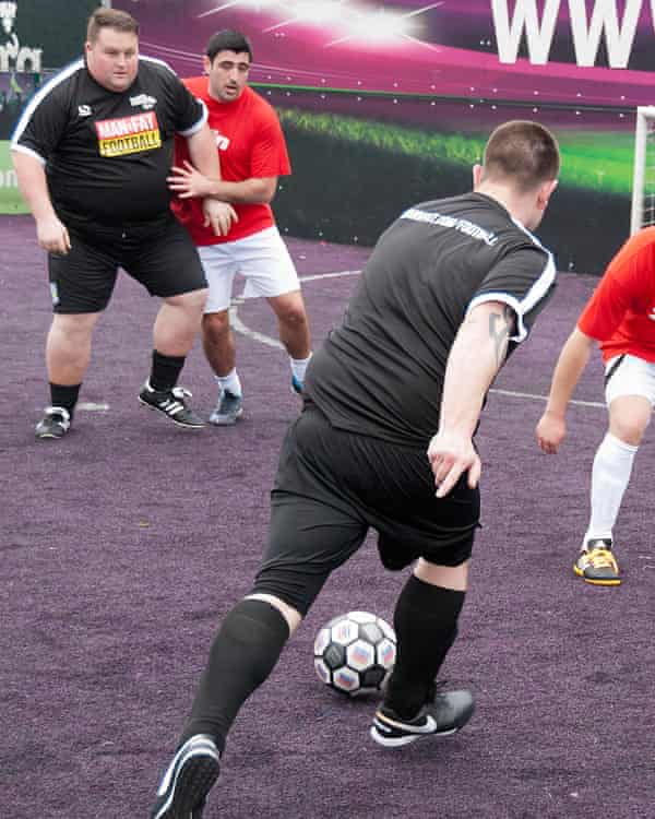 Goal-mouth action in the Man V Fat Football league