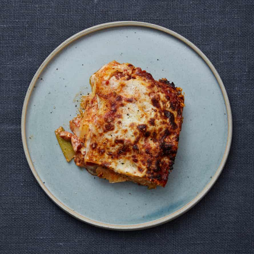Meike Peters' fennel and tomato lasagne with bacon.