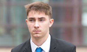 Joe Tivnan 19, outside Nottingham magistrates court, where he pleaded guilty to racially aggravated harassment.