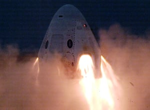 A static fire engine test on SpaceX's Crew Dragon craft taking place in November 2019.