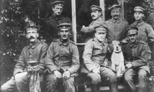 Adolf Hitler, far left, with fellow soldiers during the first world war.
