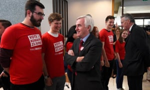 John McDonnell and Hilary Benn together at an event supporting the Remain Campaign in June.
