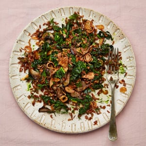 Red rice with mushrooms and cavolo nero.