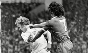 Kevin Keegan, right, and Billy Bremner clash during the 1974 Charity Shield, between Liverpool and Leeds at Wembley. Leeds were champions and would go on to relinquish their crown during the following season and see Brian Clough be their manager for 44 days