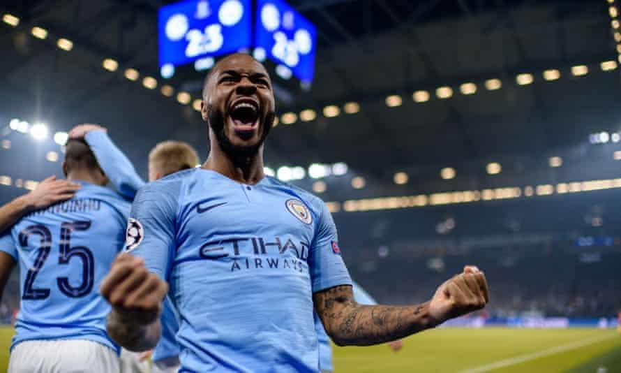 Raheem Sterling celebrates his late winner against Schalke.