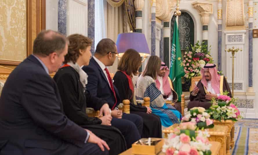 King Salman of Saudi Arabia meets a delegation of Conservative politicians in 2017.