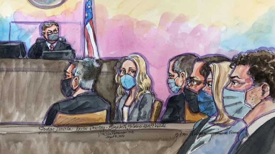 A courtroom sketch of Elizabeth Holmes as opening arguments begin.