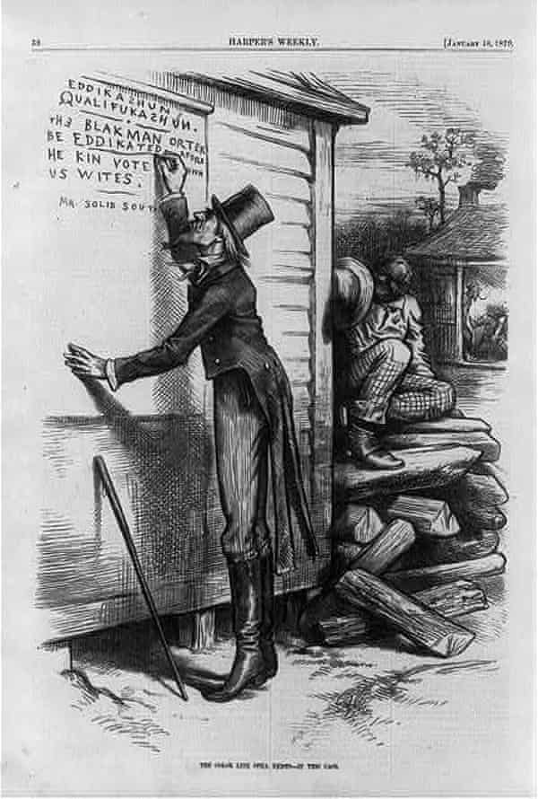 An 1879 cartoon critiquing literacy test requirements as biased against African Americans.