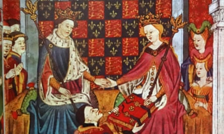 Henry VI and Margaret of Anjou as depicted in the Talbot Shrewsbury book of 1445.