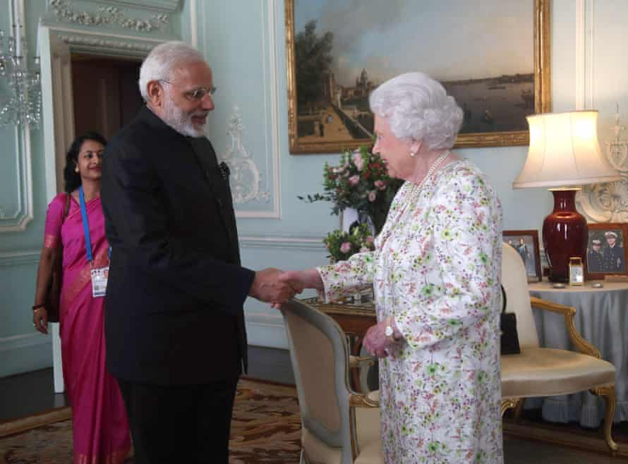 Narendra Modi is greeted by the Queen during a private audience at Buckingham Palace this week.