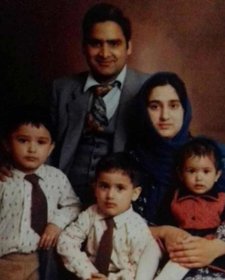 Choudhary Aslam Wassan and his young family after he moved to Birmingham from Pakistan aged 21 in the 1970s.