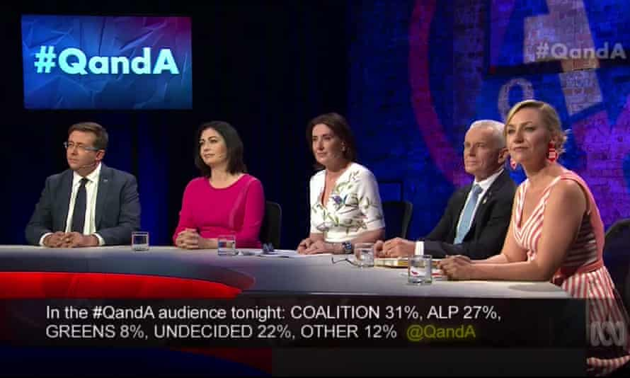 Panellists James McGrath, Terri Butler, Malcolm Roberts and Larissa Waters, with host Virginia Trioli, centre, on ABC's Q&A